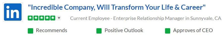 LinkedIn employee review at Glassdoor #1